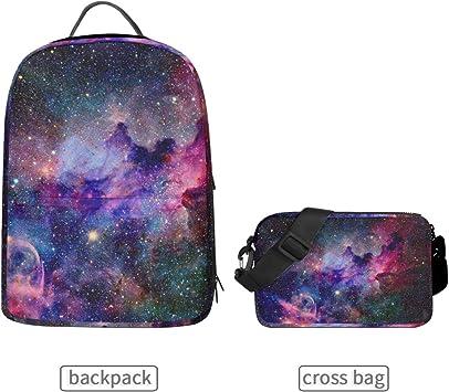 YYZZH Cute Unicorn Star Dot Outer Space Galaxy Nebula Universe Print Laptop Backpacks Bookbags School College Bag Travel Hiking Camping Daypack for Women Girls Men Boys
