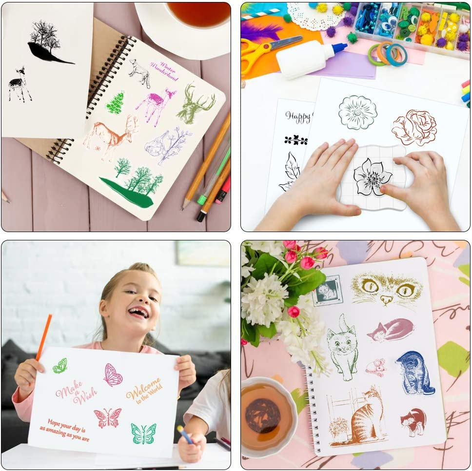 Hysagtek 4 Pieces Different Theme Clear Rubber Stamps with Acrylic Stamp Block Animal Cats Moose Flowers Leaves Birds Butterfly Friendly Phrases Stamps for Scrapbooking Card Making