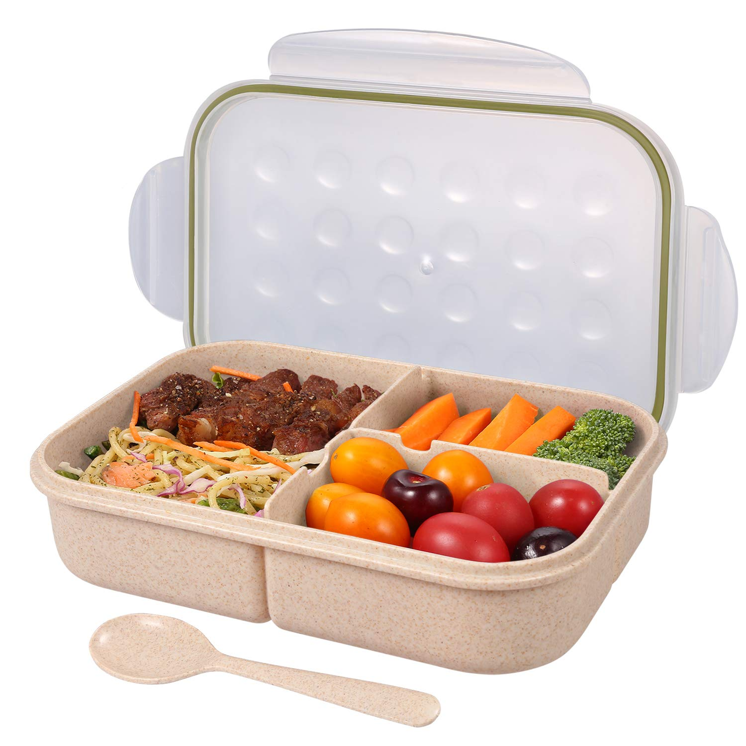 Bento Box for Adults,Lunch Container for Kids,3 Compartments Portion Lunch Box ,Food-Safe Materials,BPA-free,Leak-proof (Includes Spoon, Purple) Leak-proof (Includes Spoon