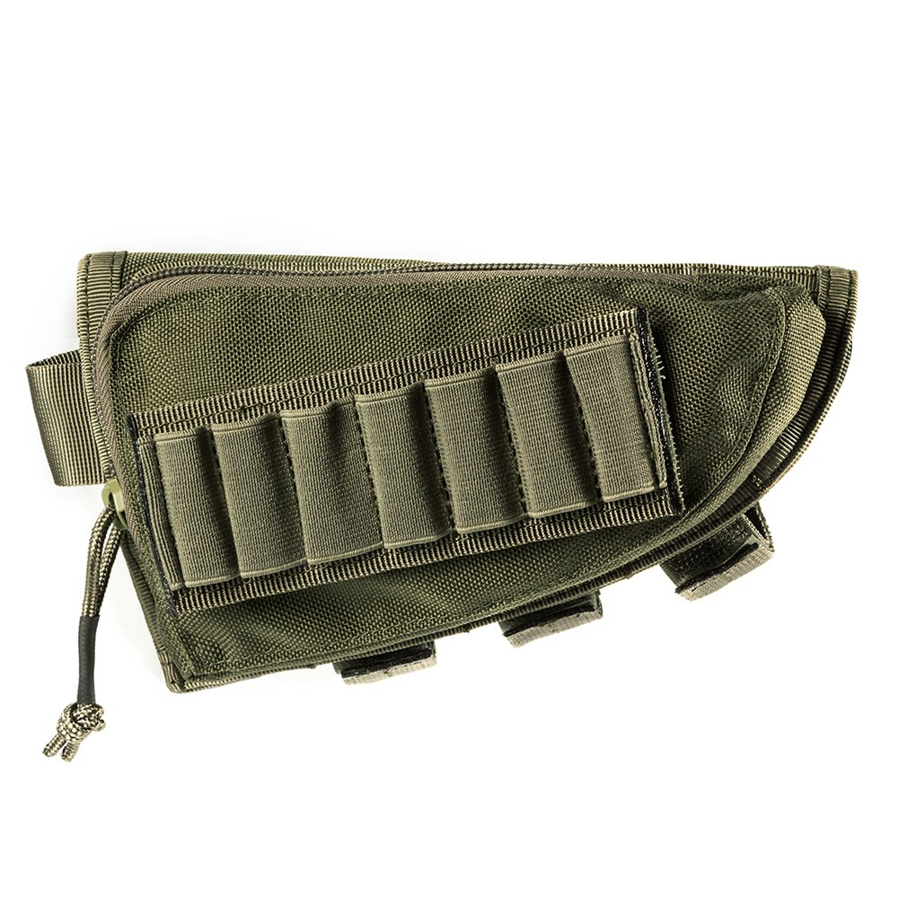 OneTigris Tactical Buttstock Shotgun Rifle Shell Holder Cheek Rest Pouch (RangerGreen) by OneTigris