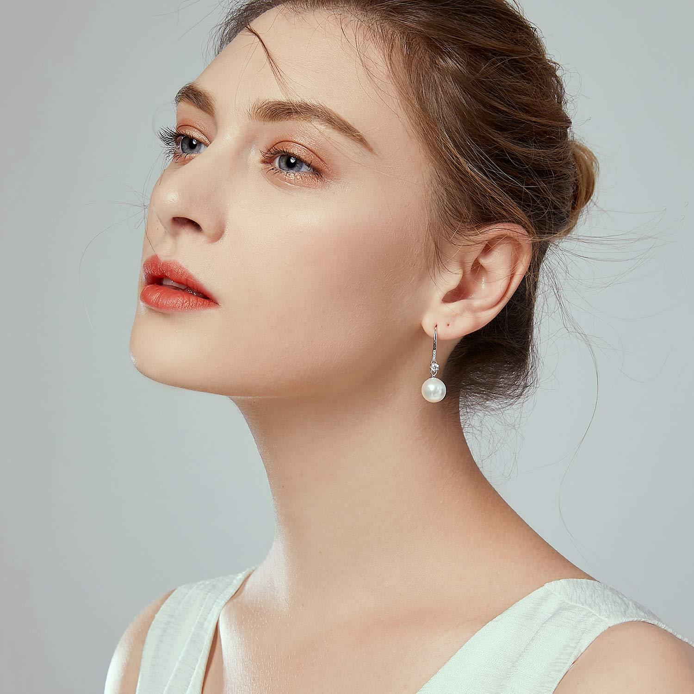 925 Sterling Silver 11mm Pearl & Cubic Zirconia Drop Dangle Earrings for Women Wedding Jewelry