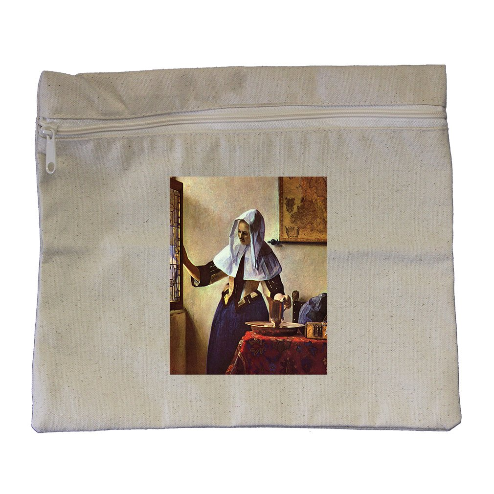 Young Woman Water Jug At Window (Vermeer) Canvas Zippered Pouch Makeup Bag