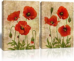LoomArt Poppy Flowers Picture for Wall Decor Vintage Watercolor Hand Painting Canvas Print Wall Art Modern Artwork for Home Bedroom Living Room Walls Decoration 12x16, 2PCS, Framed