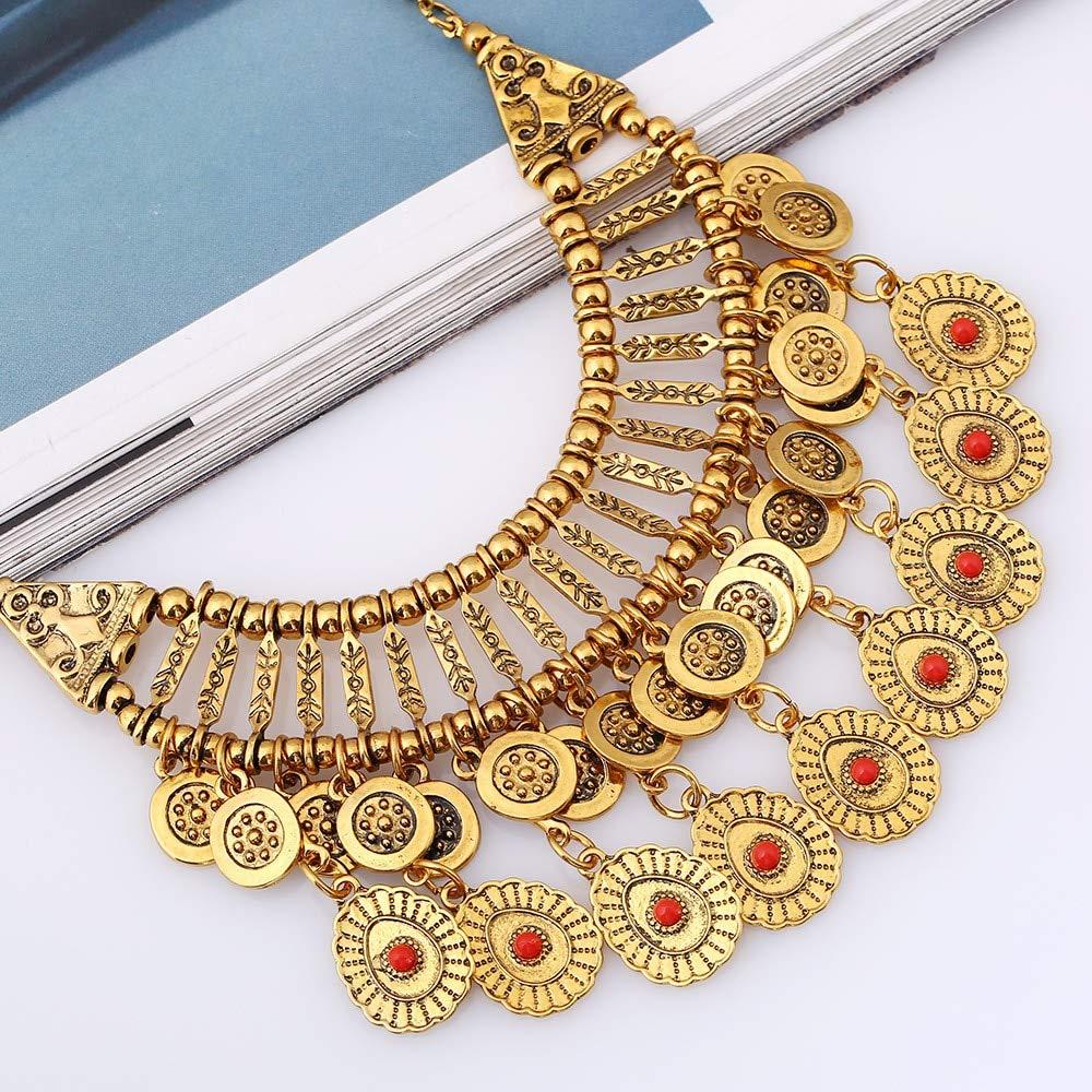 Metal Color: Gold Davitu Long Vintage Boho Choker Bohemian Ethnic Collar Necklace Women Pendant Tassel Power Maxi Coin Necklace 2016 Jewelry