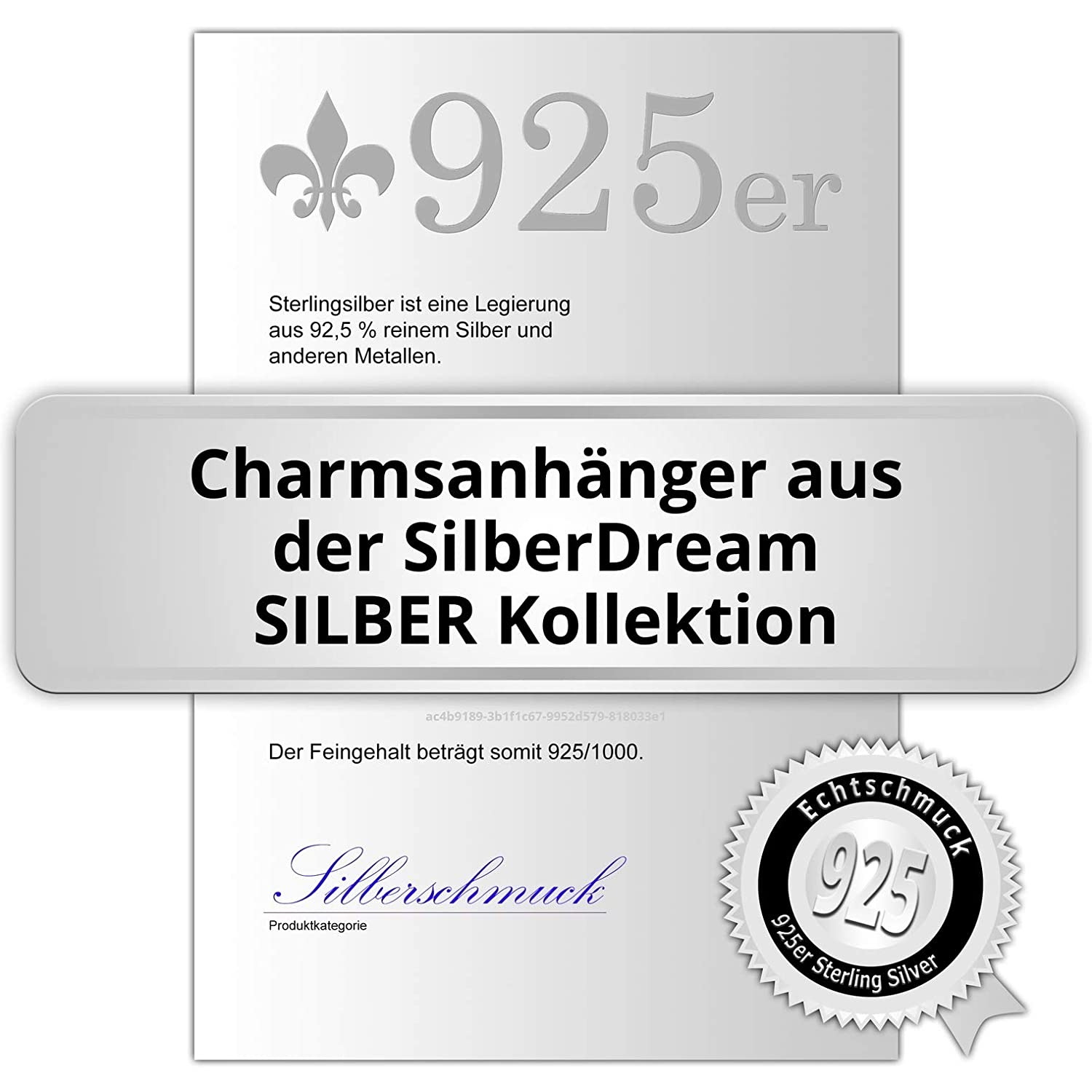 SilberDream GSC523S Glitter Charm Proud Swan Black Zirconia Crystals Pendant 925 Silver for Charm Bracelets Necklace Earrings