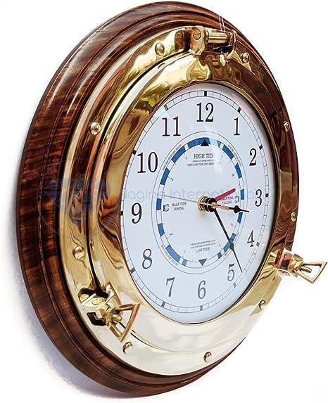 10 Pouces Belle Horloge Murale de Style Marine avec Base en Bois de Rose Fait /à la Main Cadeau de d/écoration en Laiton Nautique Nagina International Beach House