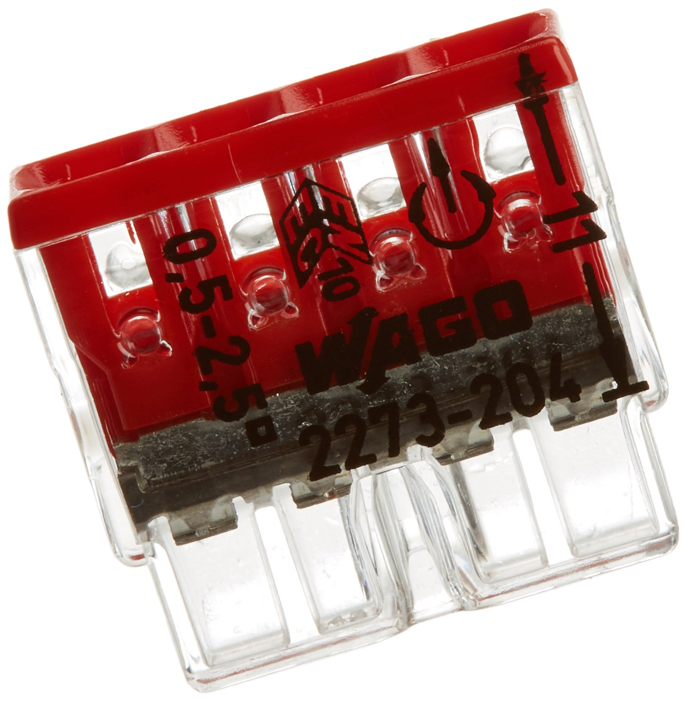 WAGO 2273-204  Compact Socket Terminal 4  x 0.5-2.5  mm²   No. 2273-204  Red (Pack of 100)