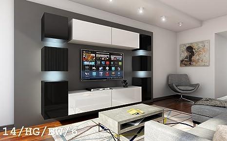 Future - Juego de 14 muebles de salón modernos, muebles de pared para la TV, juego de sala de estar, muebles para zona de ocio, mueble para la ...
