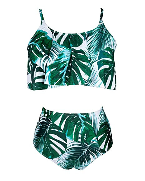 9598ee83f91 Amazon.com: F-Tempt Two Piece Sexy Swimsuit for Women Ruffle Flounce Crop  Top with High Waisted Bottoms Bikini Set Bathing Suit: Clothing