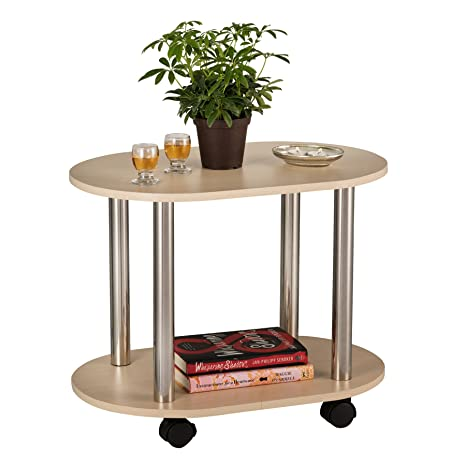 Excellent Fineboard Ovel Coffee Table End Table With Casters With 2 Shelves Nature Uwap Interior Chair Design Uwaporg