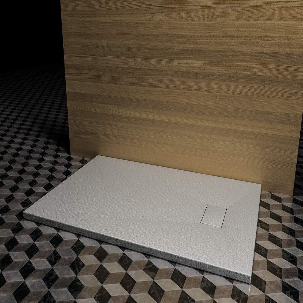 Plato de ducha Roma, gris claro, efecto pizarra SMC, se puede cortar,: Amazon.es: Bricolaje y herramientas