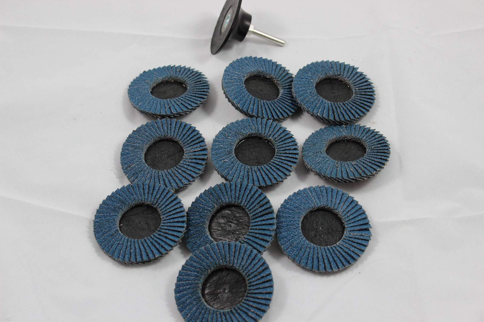 ESKALEX>>10 PC Tools USA 3'' ROLOC Sanding Flap Discs Zirconia 40 GRIT W/Mandrel and 10 Brand New 3'' R Type Roll & Lock Roloc Flap Discs