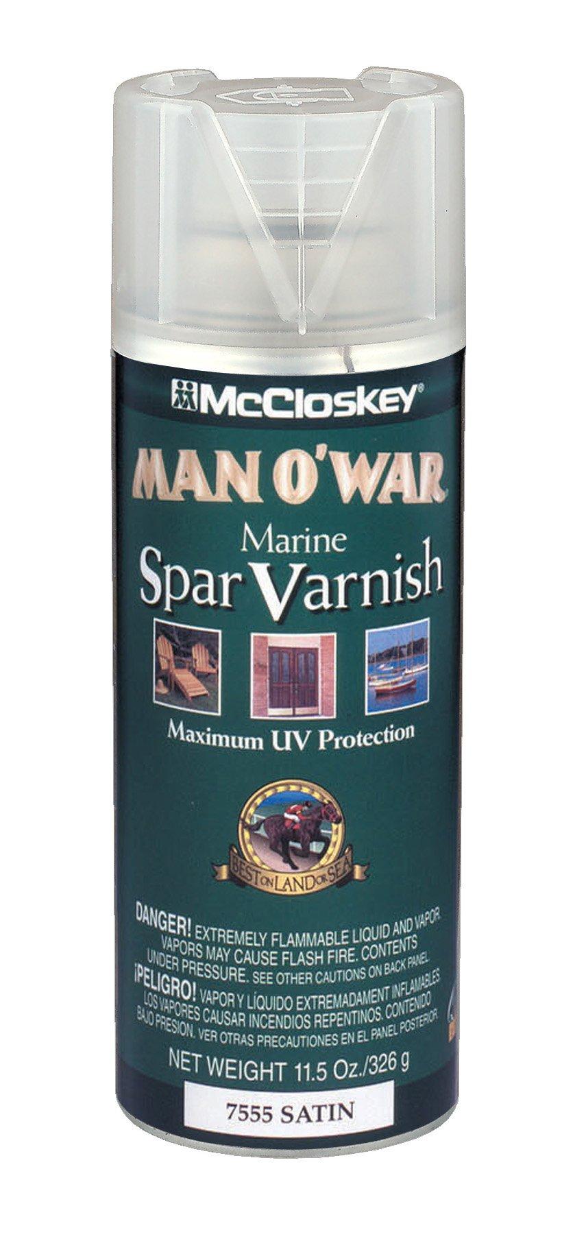 McCloskey 7555 Man O'War Spar Marine Varnish, 11.5-Ounce Spray, Clear Satin by McCloskey