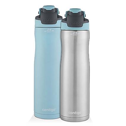 Contigo AUTOSEAL Chill Stainless Steel Water Bottles, 24 oz, SS/Iced Aqua & Iced Aqua, 2-Pack