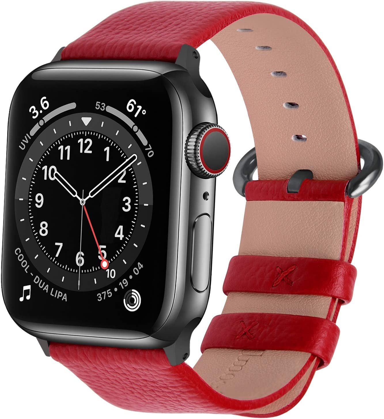 Fullmosa Compatible Apple Watch Band 38mm 40mm 42mm 44mm Leather Compatible iWatch Band/Strap Compatible Apple Watch SE & Series 6 5 4 3 2 1, 38mm 40mm Red + Smoky Grey Buckle