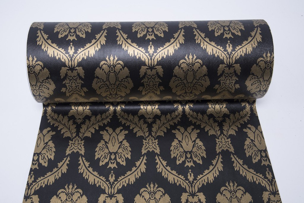 Autocollant Noir Damas papier peint papier Contact Shelf Liner pour tiroir Armoire de cuisine é tagè res Plans de travail Sticker mural (45 x 500, 0 cm) F&U