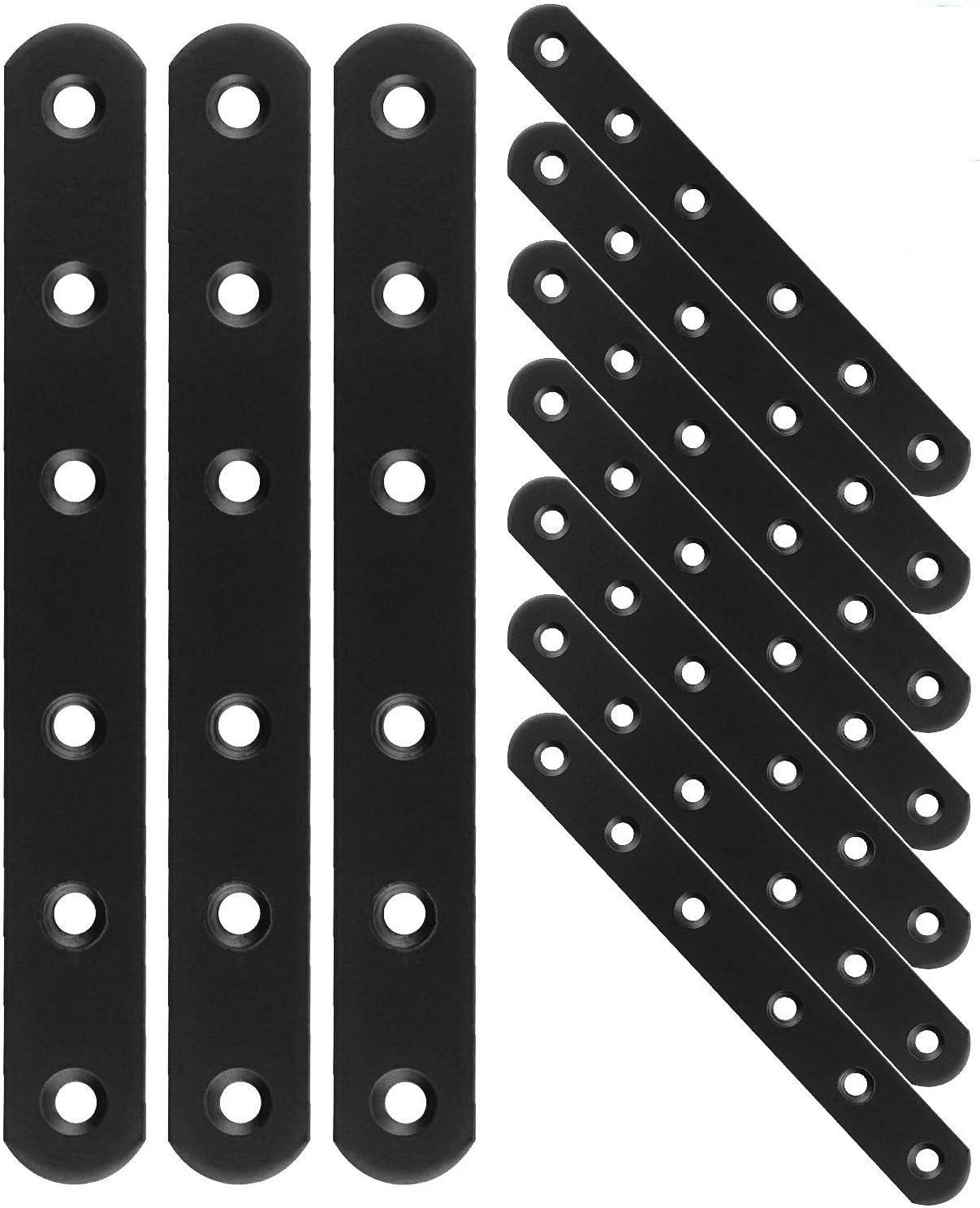 "20PCS Black Mending Plates, 6-1/4""Heavy Duty Iron Flat Corner Brace, Metal Straight Bracket Plate for Wooden Cabinet Bookshelves Bed Table, Fixing Furniture Fastener Hardware"
