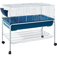i.Pet 100cm Rabbit Hutch Guinea Pig Cage Rabbit Bunny Home with Detachable Wheels