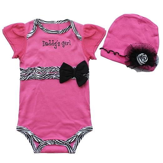 d2df2a7e3311 Amazon.com: FEESHOW Baby Girls' 2Pcs Flutter Sleeve Romper Bodysuit with  Flower Cap/Headband Fuchsia 6-9 Months: Clothing