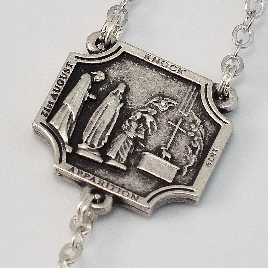 Our Lady of Knock Shrine Official Rosary in antique silver plated finish by Ghirelli 14129