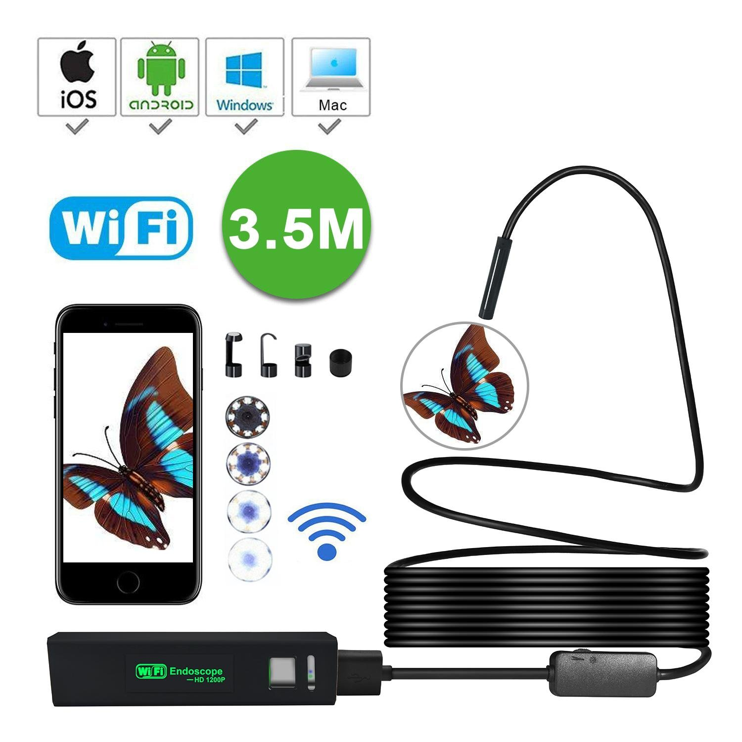 Waterproof Wireless Endoscope, KOBWA WiFi Borescope Inspection Camera 2.0 Megapixels HD 8 LED Light Snake Camera for Android and IOS Smartphone, IPhone, Samsung, Tablet, PC 6025779747431