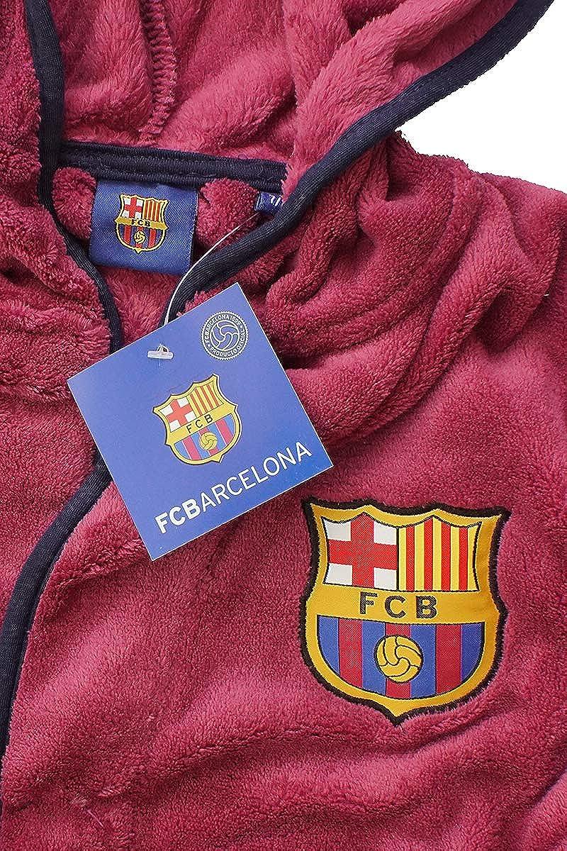 Barcelona FCB Jungen Offiziell Fleece mit Kapuze Bademantel Bademantel Gr/ö/ßen von 3 bis 12 Jahre