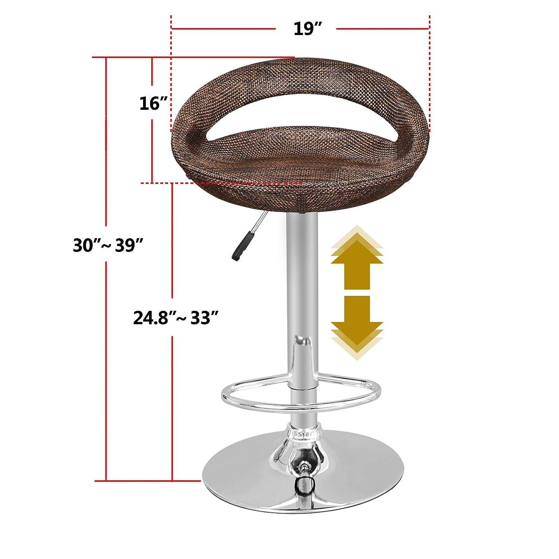 ZENY Set of 2 Rattan Wicker Bar Stool Modern Adjustable Pub Swivel Barstool