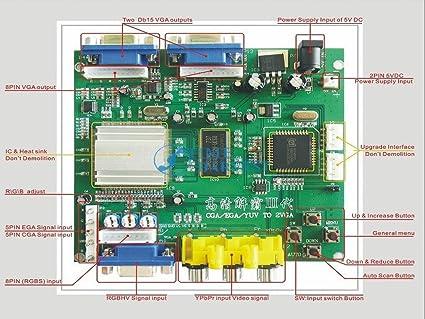 rgb to vga cga to vga converter board 2 vga output game accessory rh amazon co uk