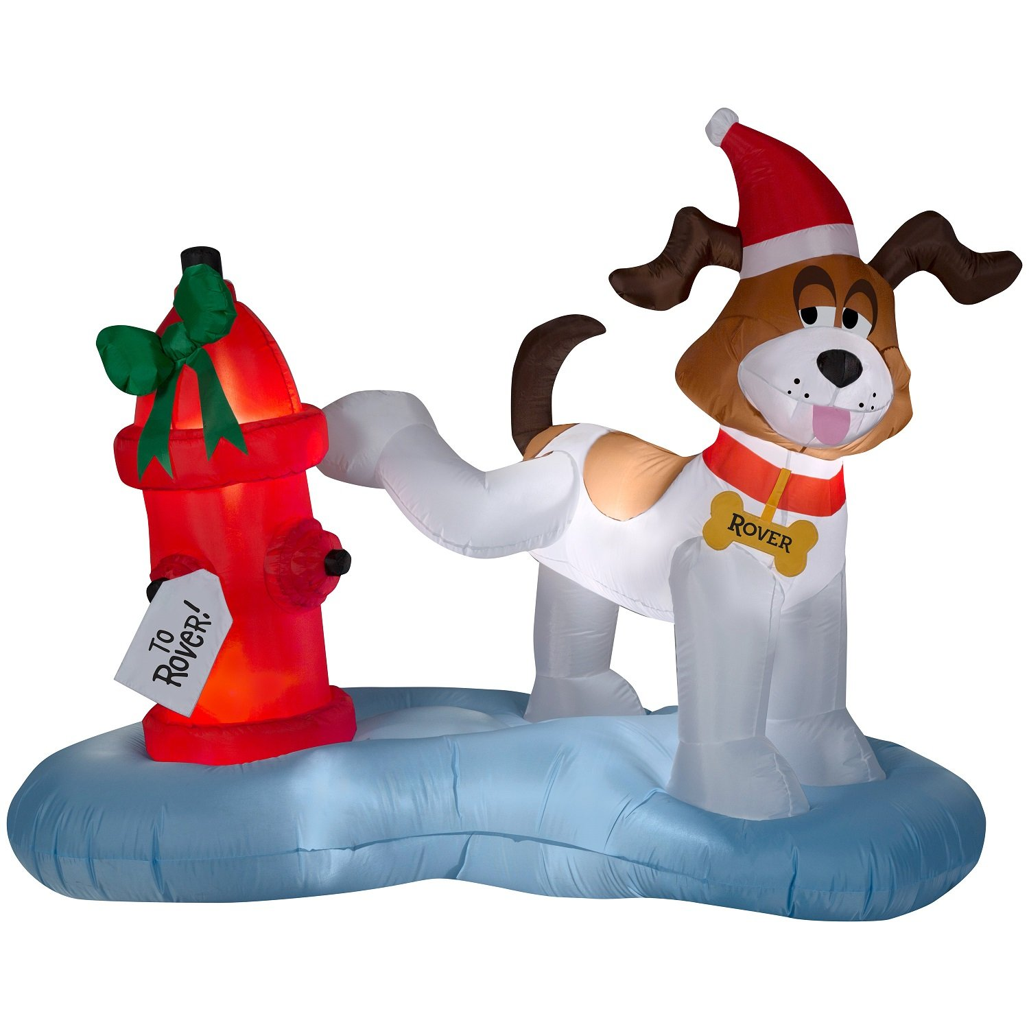 Christmas Inflatable Whimsical Dog Peeing On Fire Hydrant Gift By Gemmy