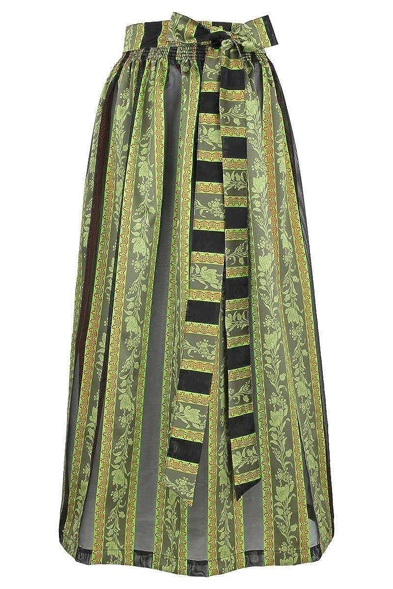 Stützle Damen Dirndl-Schürze lang gestreift schwarz grün, grün, grün 96536