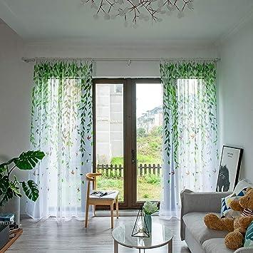 FeiliandaJJ 200x100cm Vorhänge Voile Transparent Gardinen Blätter Sommer  Cool Atmungsaktiv Waschbar Gardinenschals Wohnzimmer Kinderzimmer ...
