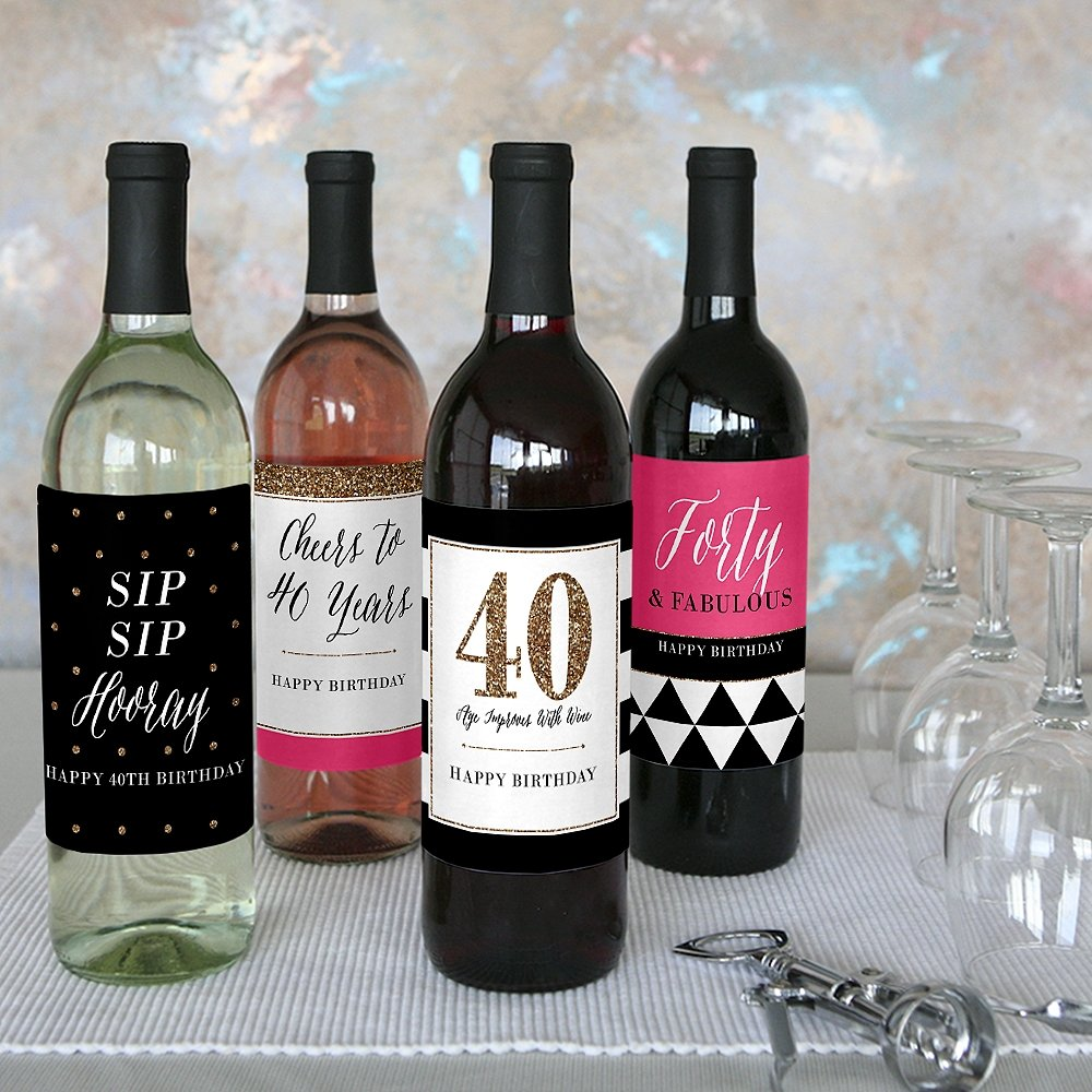 Chic 40th Birthday - Pink, Black and Gold - Birthday Gift For Women - Wine Bottle Label Stickers - Set of 4 by Big Dot of Happiness (Image #7)