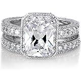 Vintage Emerald Cut CZ Wedding Ring Set - Petite 2.5 Carats