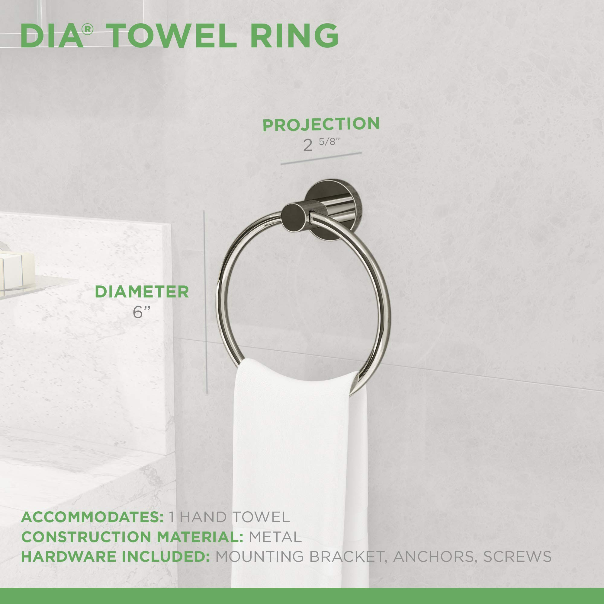 Symmons 353TR Dia Wall-Mounted Towel Ring in Polished Chrome by Symmons