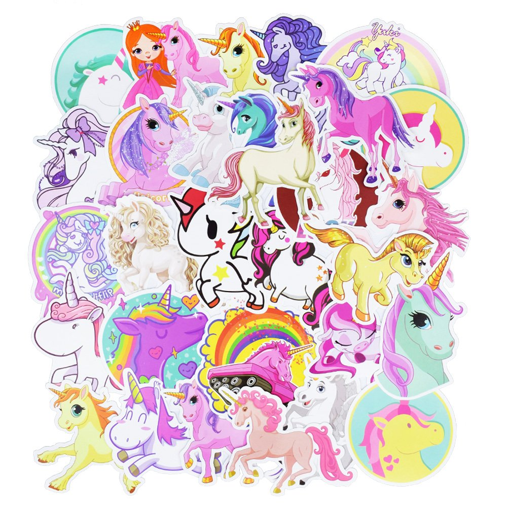 Waterproof Vinyl Stickers for Laptop Tablet Water Bottle Decals(30Pcs Unicorn Style)