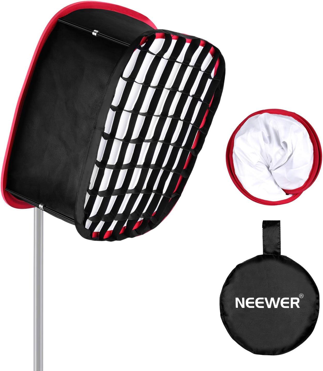 Neewer Softbox Plegable 480/660/530 Paneles Luz LED, Apertura de 23,5 x 21cm, Difusor Portátil Plegable, Accesorio de Correa con Rejilla y Bolsa de Transporte para Iluminación de Estudio Fotográfico: Amazon.es: Electrónica
