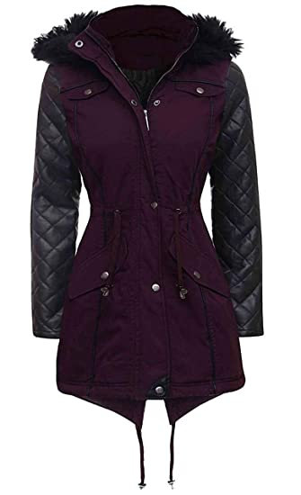 9c0e210f001 Love My Fashions Womens Ladies Parka Jacket Quilted PU Sleeves Winter Coat  Size 8 10 12 14 16 18 20 22 24 (10