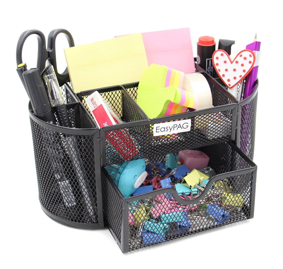 Amazon.com : EasyPAG Office Mesh Desk Organizer 9 Components Pencil Holder  Caddy With Drawer, Black : Office Products