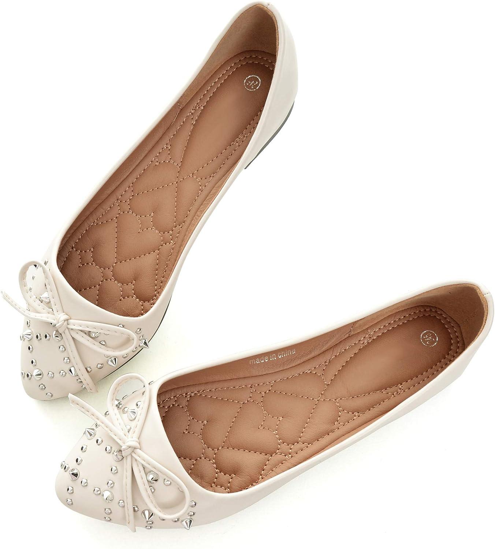 Dear Time Womens Bowtie Rivet Slip On Comfortable Round Toe Low Heel Ballets Flats Wedding Flat Shoes