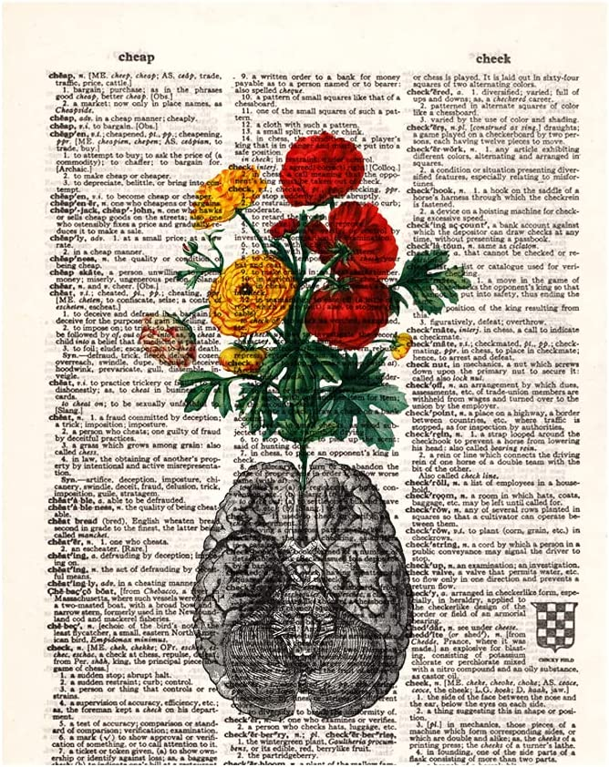 Human Anatomy Vintage Dictionary Art Print, Anatomy Art Print with Floral Arrangement, Anatomical Wall Art Decor for Doctor Nurse, for Office Home Decor, 8