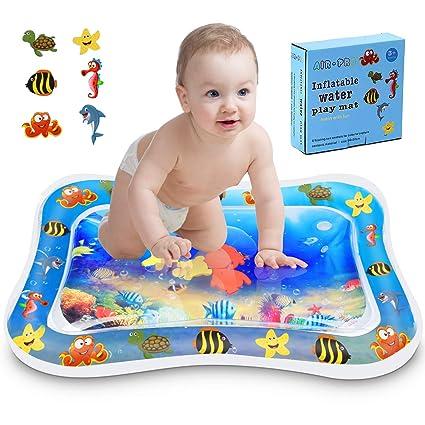 Kupton Colchoneta de agua inflable tiempo para jugar de barriguita para bebés y niños pequeños,centro de actividades de juego tiempo de diversión con ...