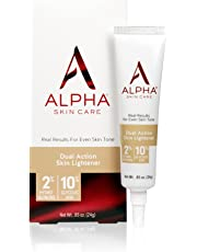 Alpha Skin Care - Dual Action Skin Lightener, 2% Hydroquinone, 10% Glycolic AHA, Real Results for Even Skin Tone  Paraben-Free  0.85-Ounce