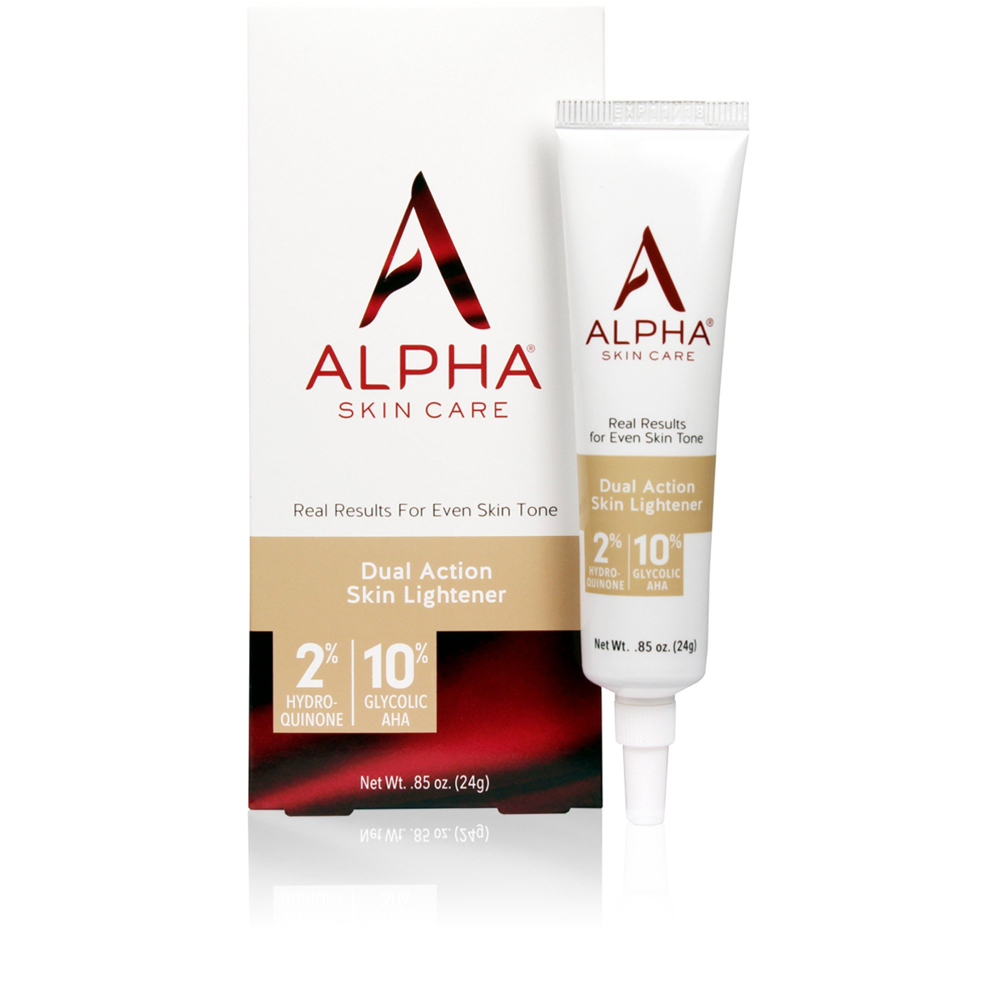 Alpha Skin Care - Dual Action Skin Lightener, 2% Hydroquinone, 10% Gycolic AHA, Real Results for Even Skin Tone| Paraben-Free| 0.85-Ounce by Alpha Skin Care (Image #1)