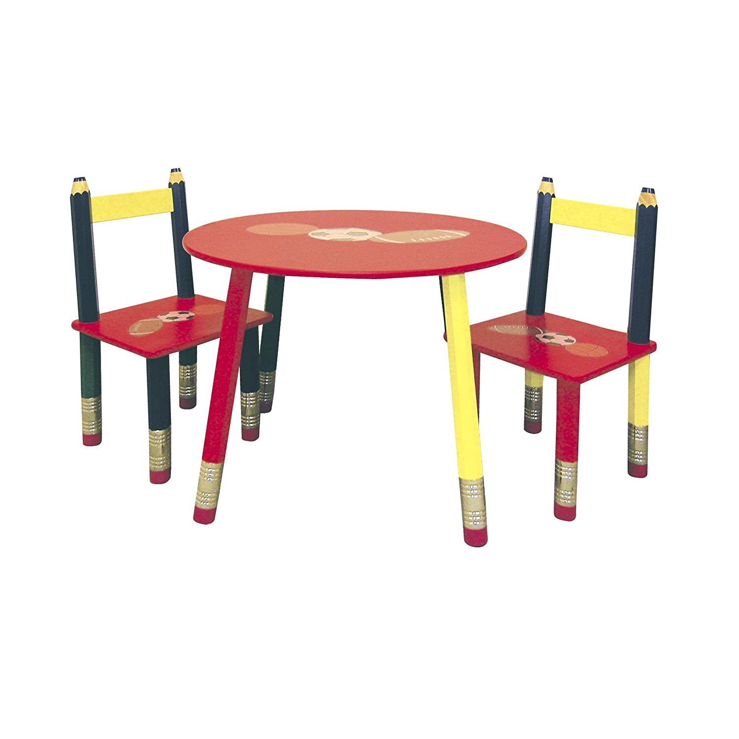 Amazon Ore International Kids Table 3 Pc Set Red Table