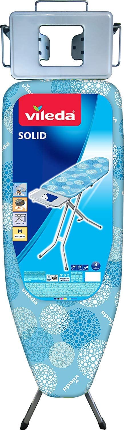 Vileda Solid - Tabla de planchar mediana, altura regulable 75 - 95 cm, superficie de planchado extra grande, estable y robusta, medidas: 122 x 44 cm, color azul