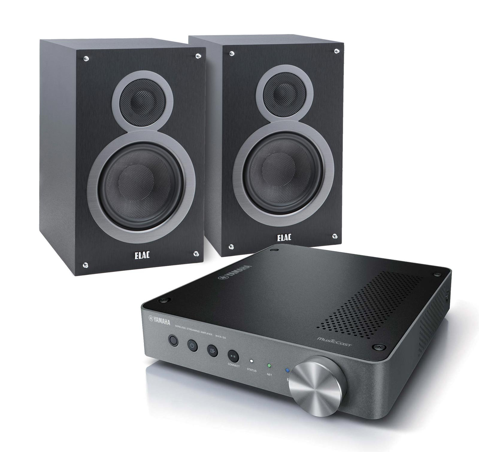 Yamaha MusicCast WXA-50 Audio Component Amplifier (Dark Silver) with ELAC Debut B6 2-Way Bookshelf Speakers, Pair (Black)