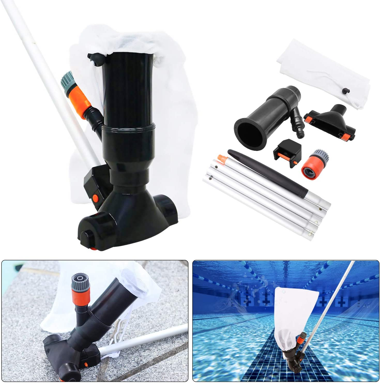 Swimming Pool Jet Vacuum Cleaner Underwater with 5 Section Pole Portable Pool Mini Jet Vacuum Suction Head for Above Ground Pool Spas Hot Tub Ponds /& Fountains