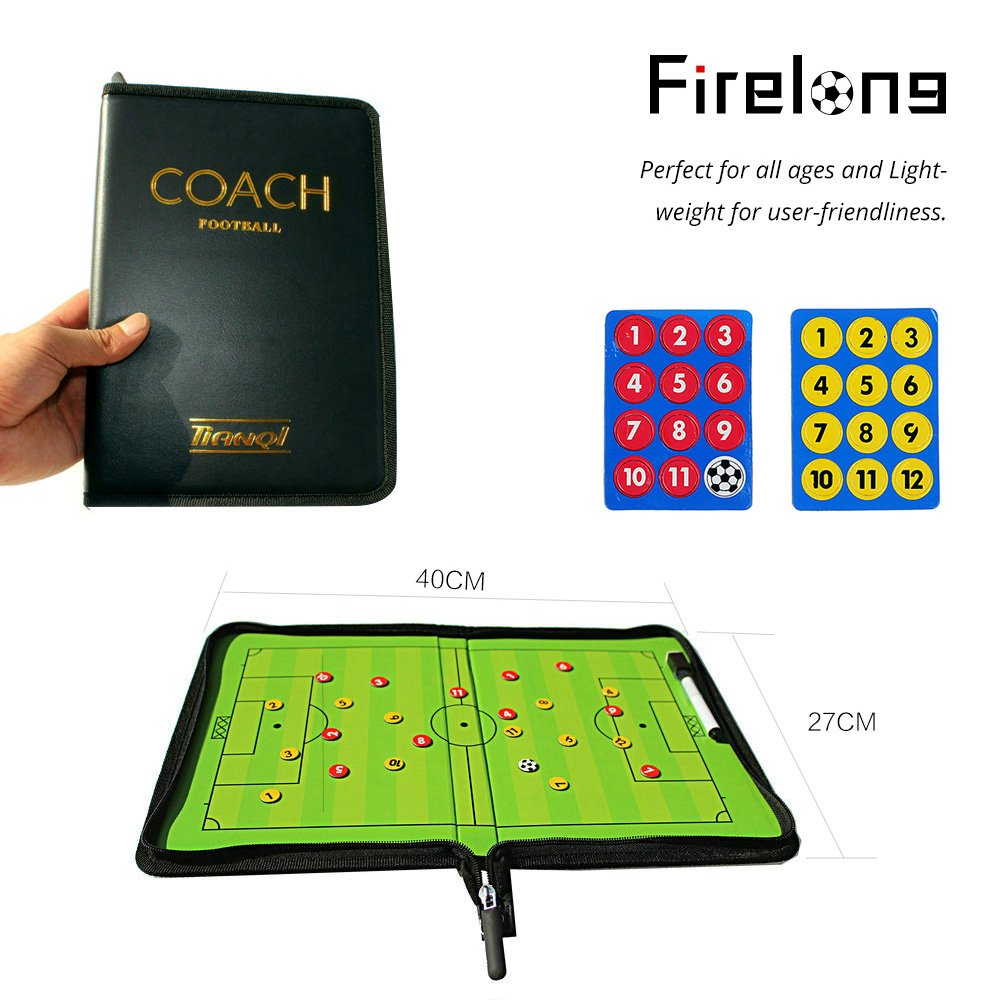 Firelong Football Soccer Coaches Foldable Magnetic Tactics Strategy Board Zipper-Closure with an Erasable Write-Wipe 2 in 1 Pen Accessories