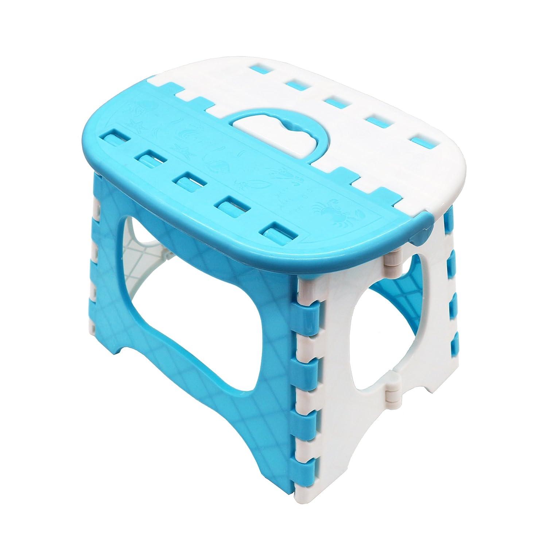 APIKA Pieghevole Passo Sgabello per bambini Plastica portatile facile da trasportare adatto per la pesca da campeggio uso esterno(blu)