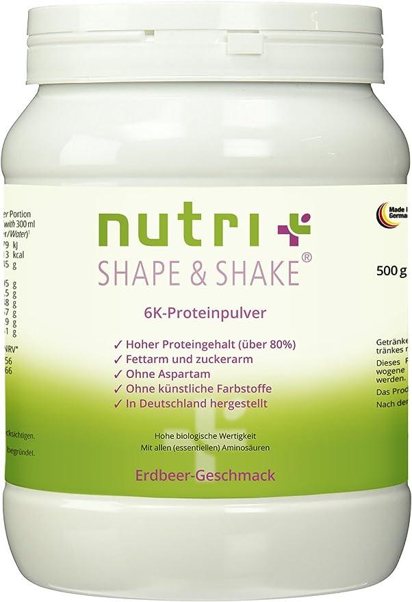 NUTRI de Plus Shape & Shake 500 g – Proteína en polvo sin aspartamo – con Whey + Caja de caseína – Incluye Cuchara dosificadora
